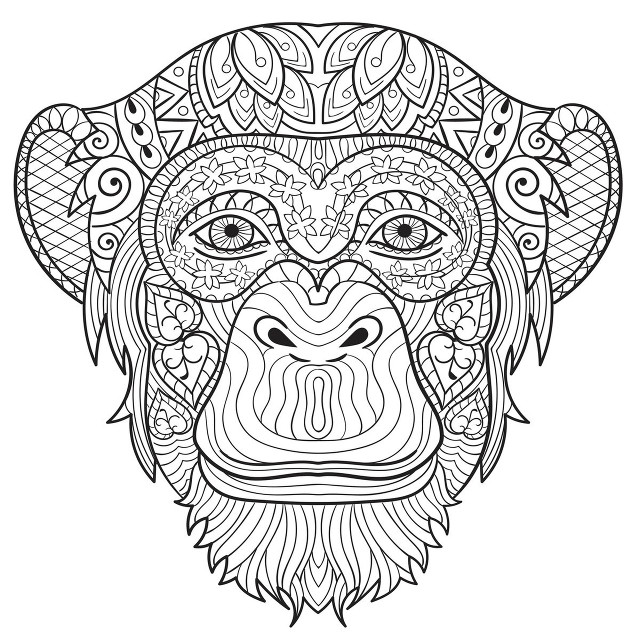 monkey coloring pages for adults 31902 - Monkey Coloring Pages