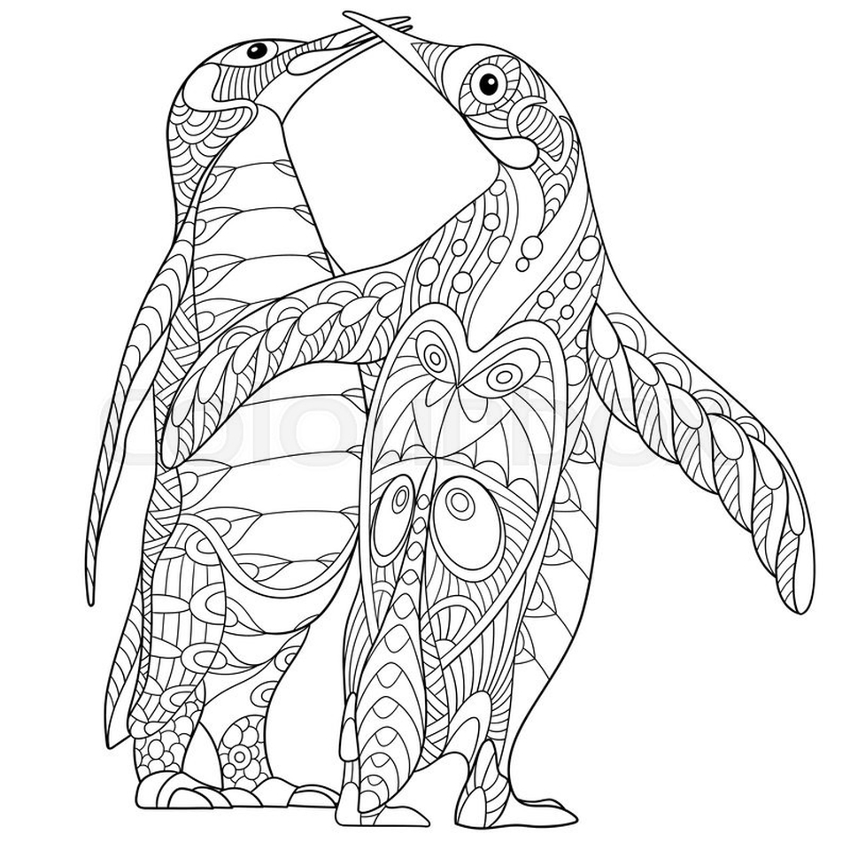 Get this penguin coloring pages for adults to print out for Free coloring pages of penguins