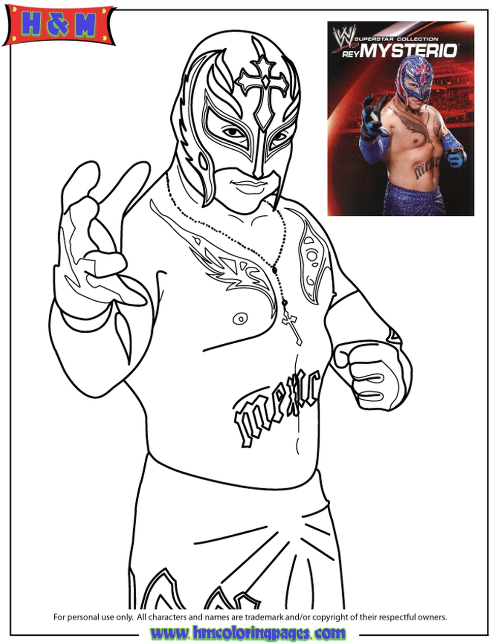 Get This Printable wwe coloring pages rey mysterio 31189