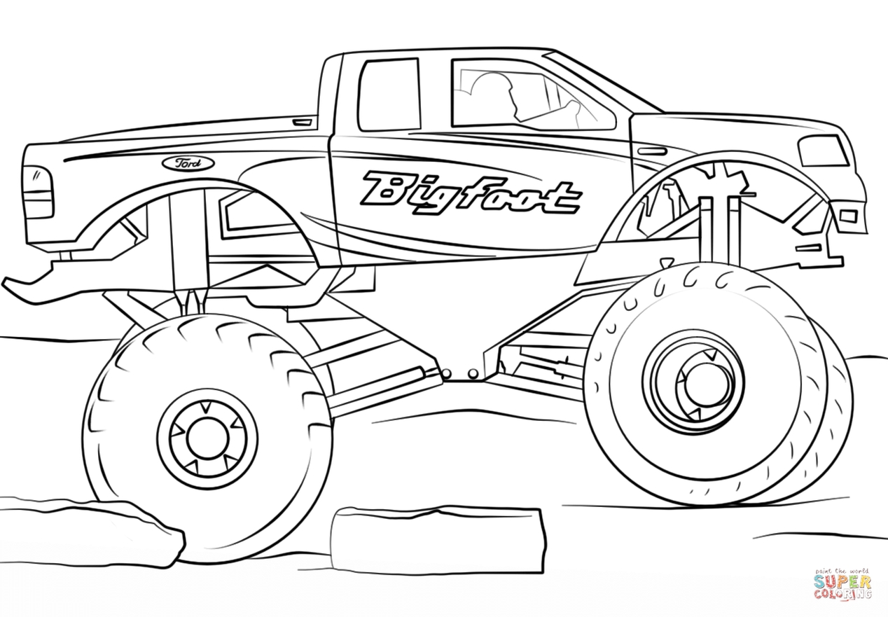 Coloring pages very hungry caterpillar - Bigfoot Monster Truck Coloring Page 73610
