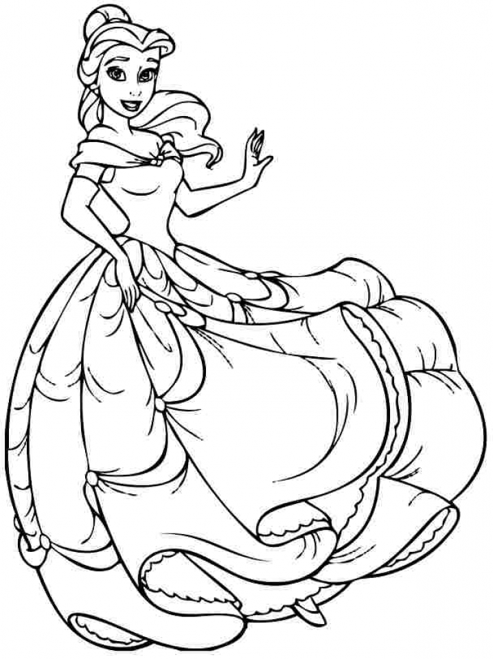 20 free printable disney princess belle coloring pages for Princess printable color pages