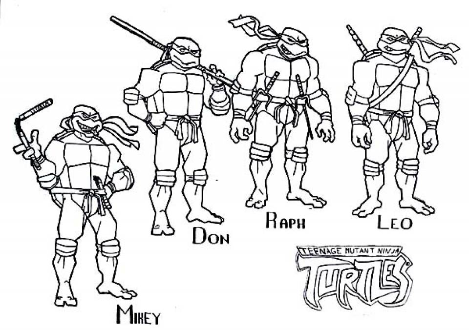 Get this free teenage mutant ninja turtles coloring pages for Coloring pages turtles ninja