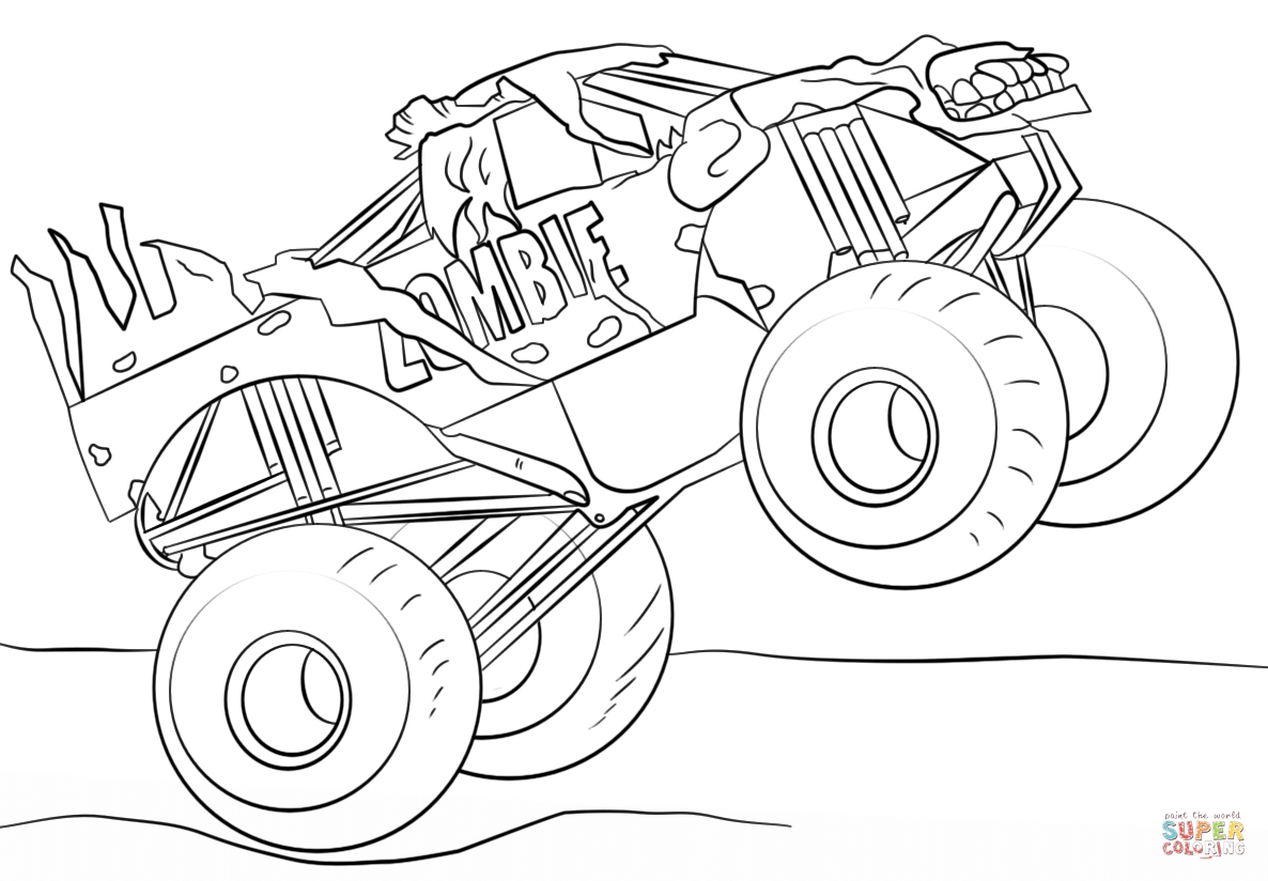 monster truck coloring pages halloween monster best free