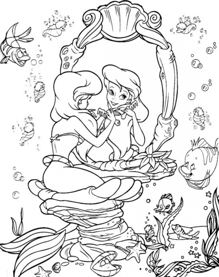 Coloring ~ Coloring Fantastic Arielrintableages Disney Free ... | 960x760