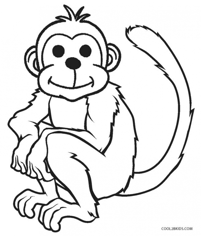 Line Drawing Monkey : Monkey free colouring pages