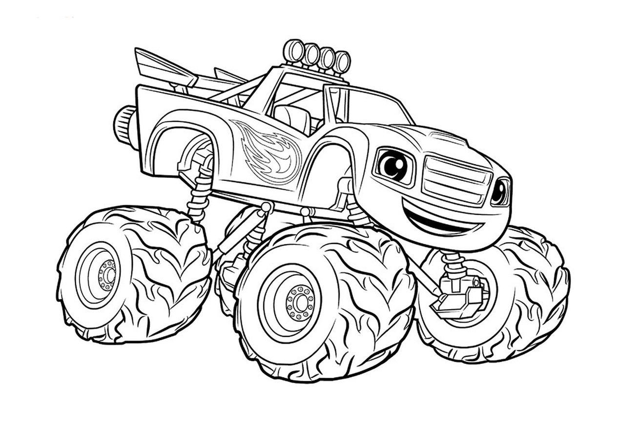This is an image of Impeccable Monster Truck Printable Coloring Pages