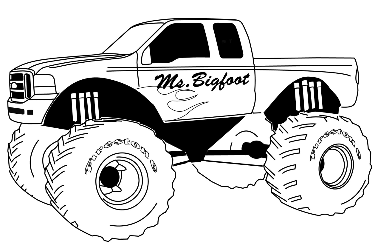 Get this monster truck coloring page free printable for for Free truck coloring pages