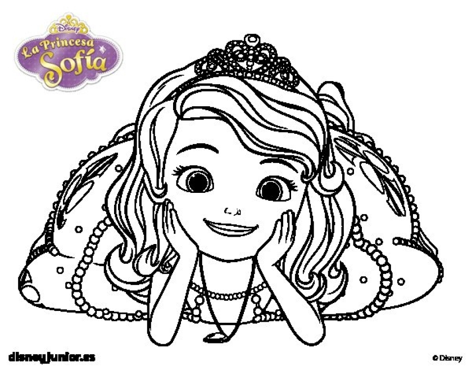 Free Printable Disney Princesses Sofia Face Coloring Pages