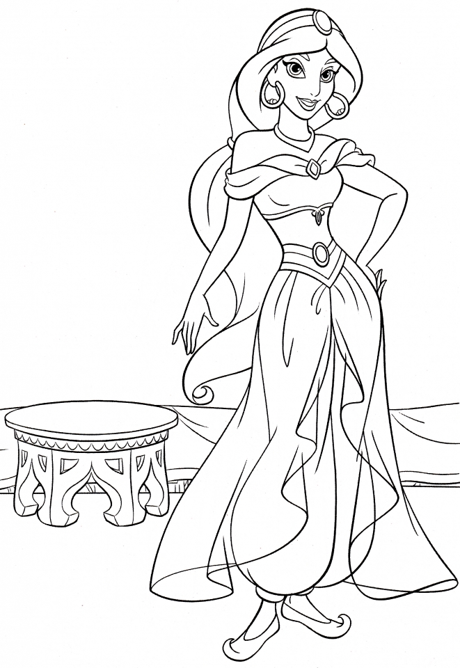 20 free printable disney princess jasmine coloring pages