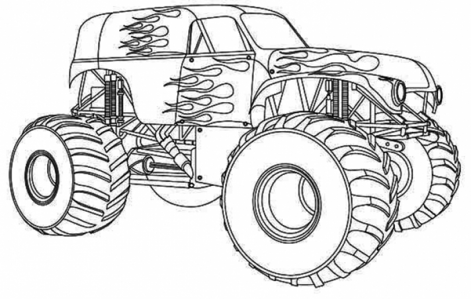 Printable Monster Truck Coloring Pages 59949 on car with flat tire
