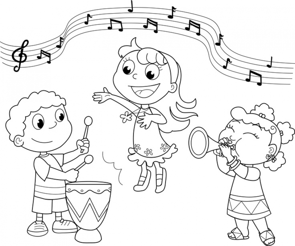 It is a graphic of Influential Musical Coloring Page