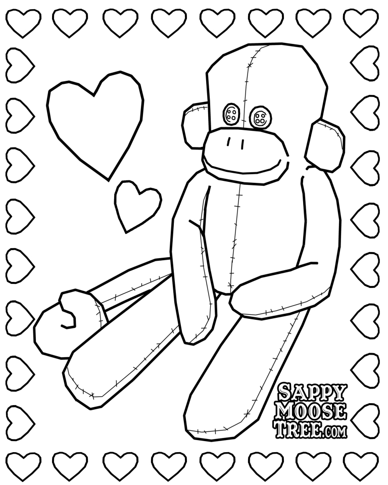 Sock Monkey Coloring Pages 40672