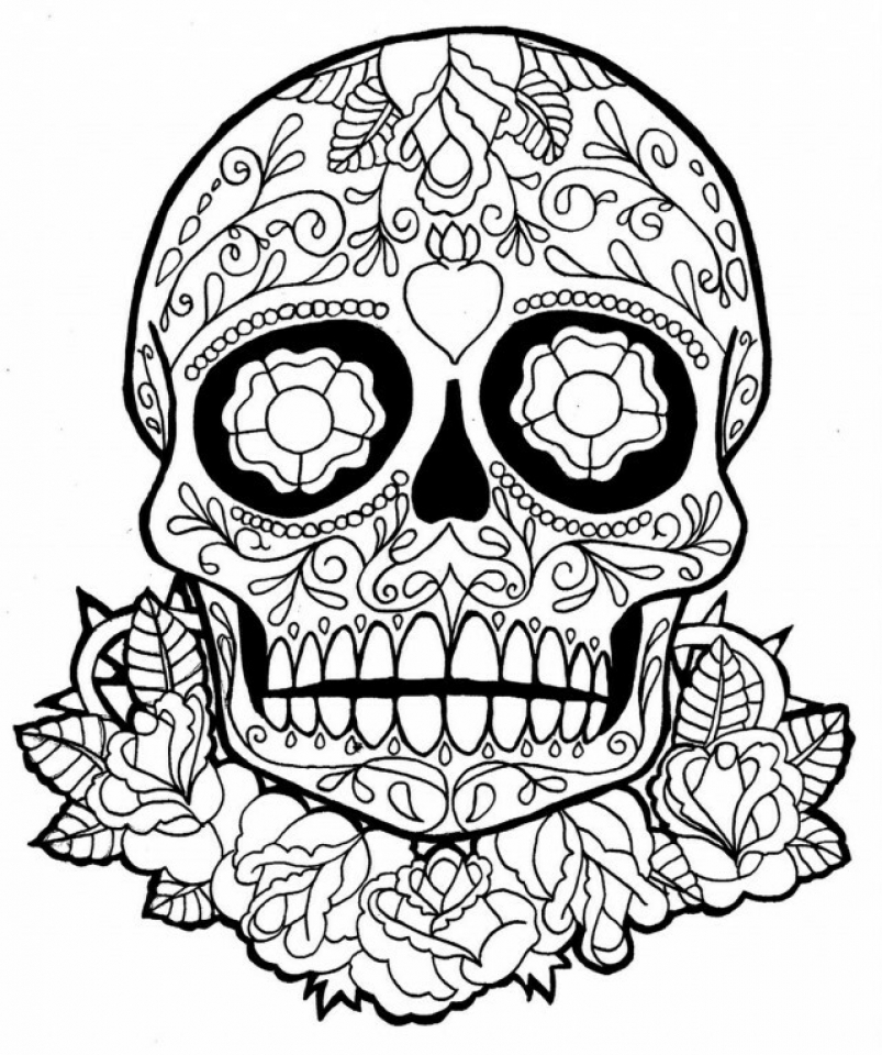 Get This Sugar Skull Coloring Pages Adults Printable 05640