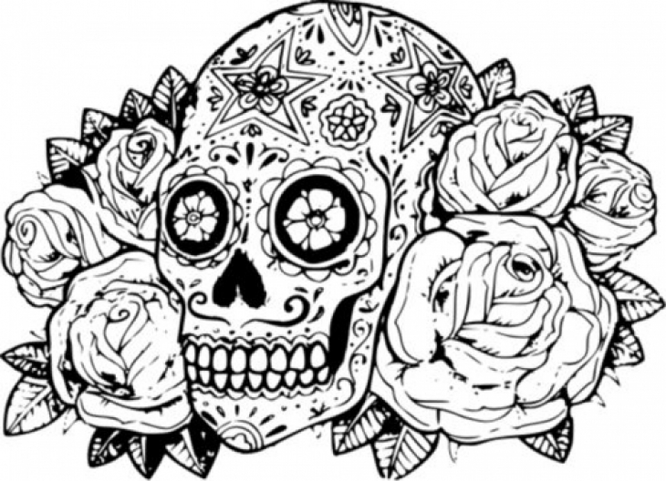 Get This Sugar Skull Coloring Pages Adults Printable 211684
