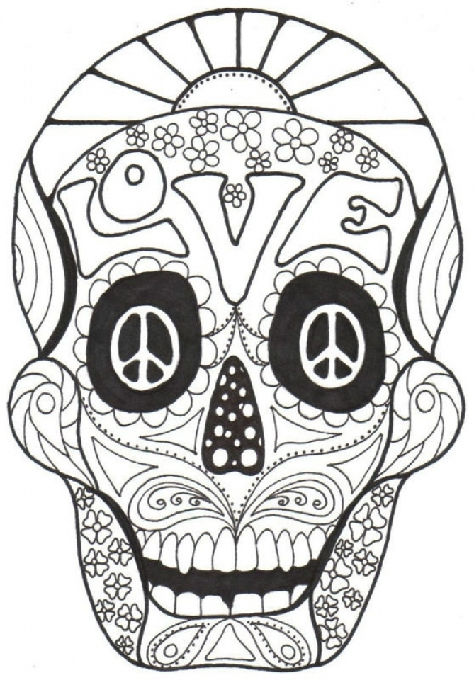 Sugar Skull Coloring Pages - Detailed Day of the Dead Coloring ... | 960x669