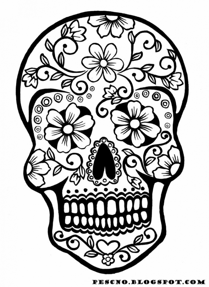 Sugar Skull Coloring Pages For Adults 14856