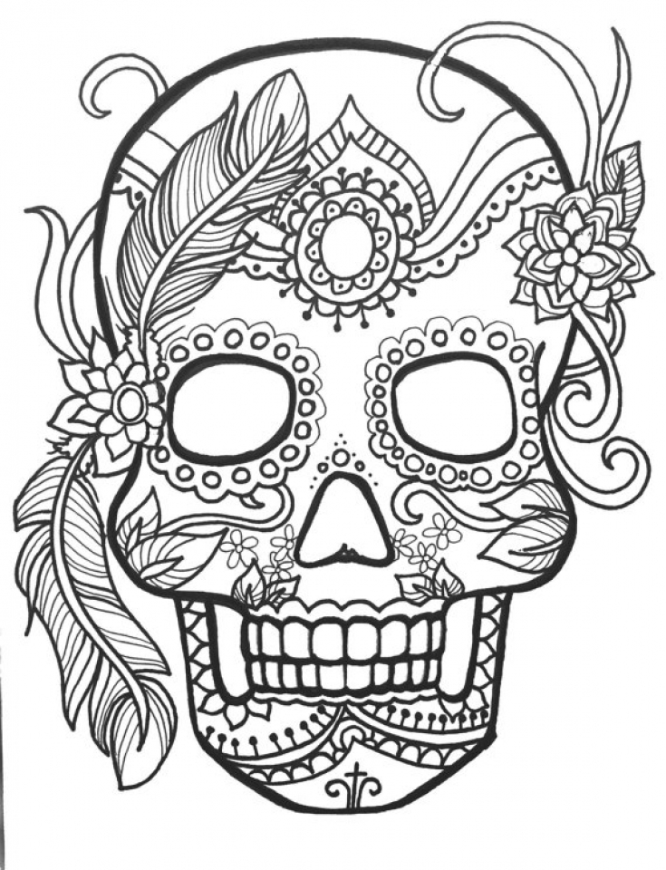 sugar skull coloring pages for adults 95637 - Sugar Skull Coloring Page