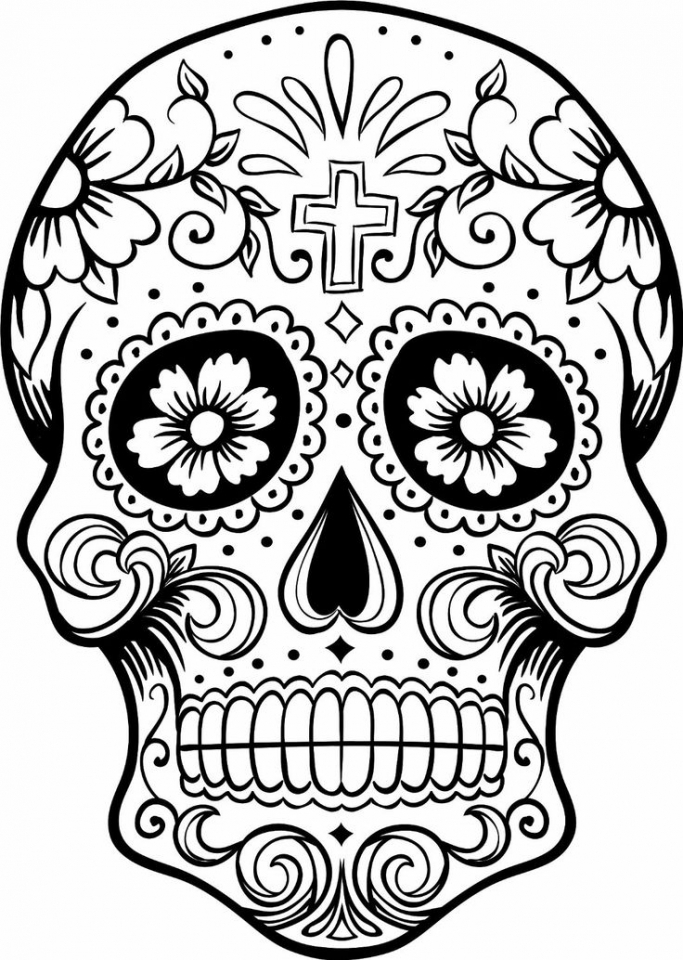 Get This Sugar Skull Coloring Pages for Grown Ups 24281