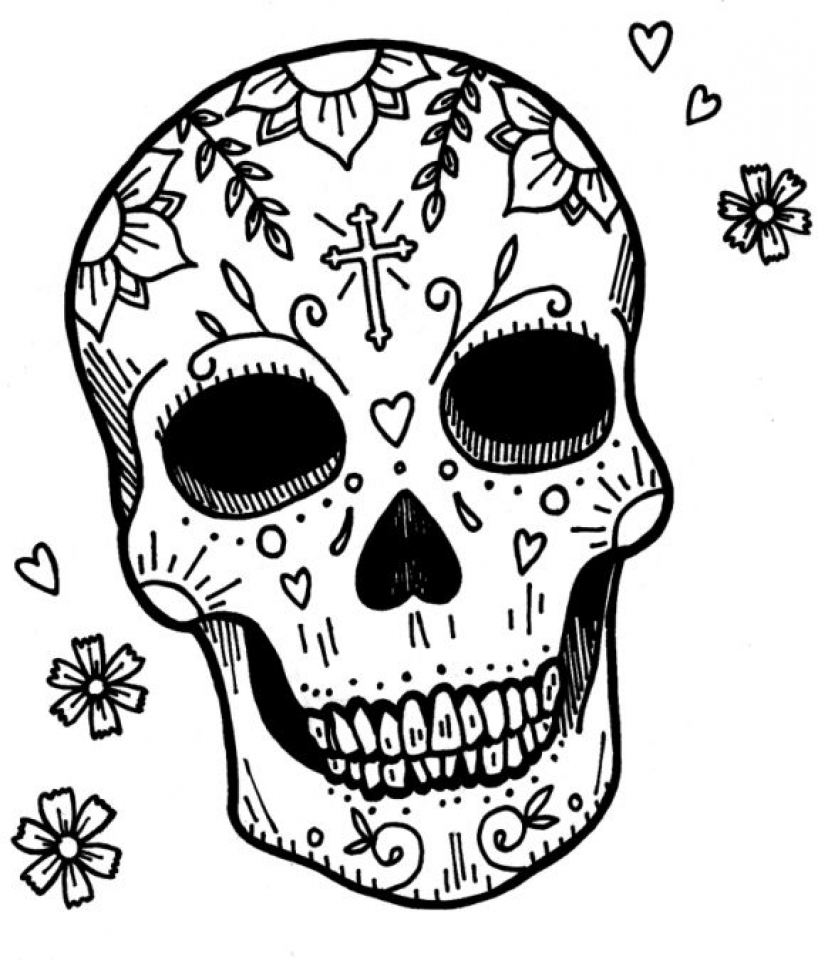 sugar skull coloring pages free for adults 18960 - Cinco De Mayo Skull Coloring Pages