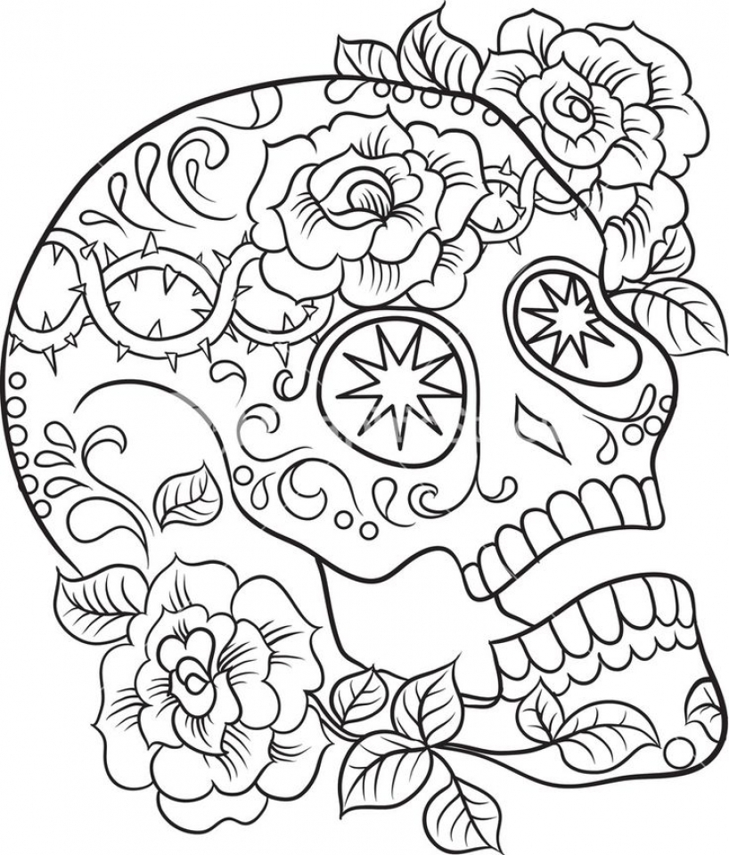 Get This Sugar Skull Coloring Pages Free for Adults 24631 !