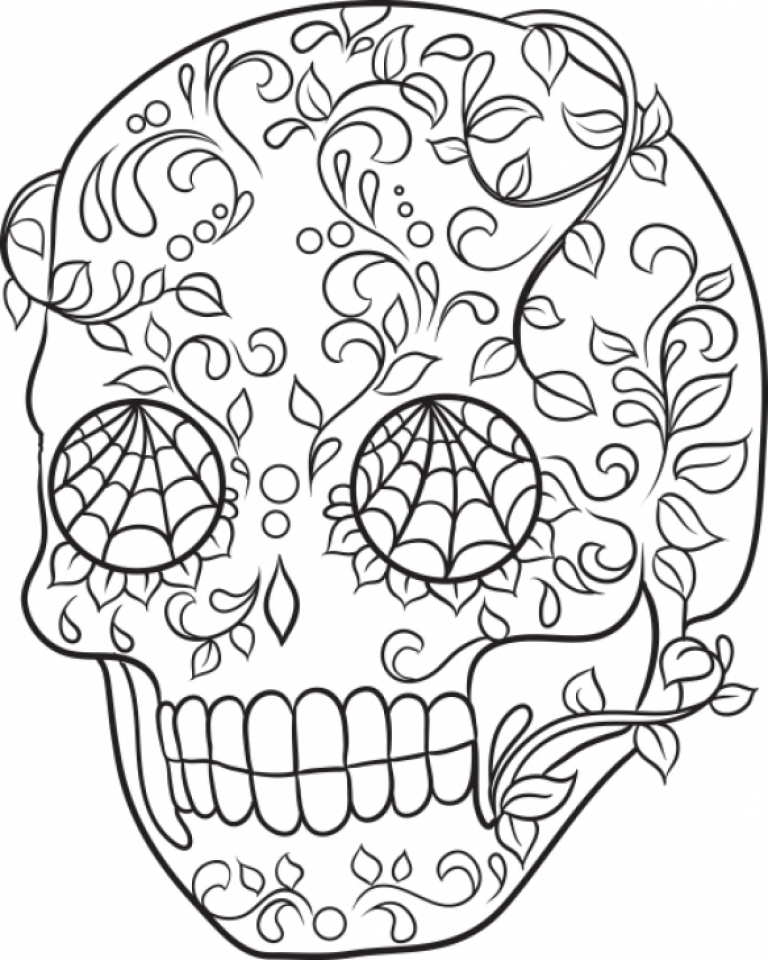 Get This Sugar Skull Coloring Pages Free for Adults 54621
