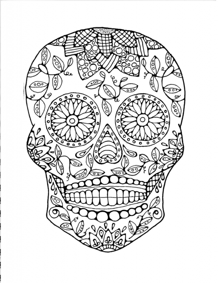 Get This Sugar Skull Coloring Pages Free Printable for Grown Ups