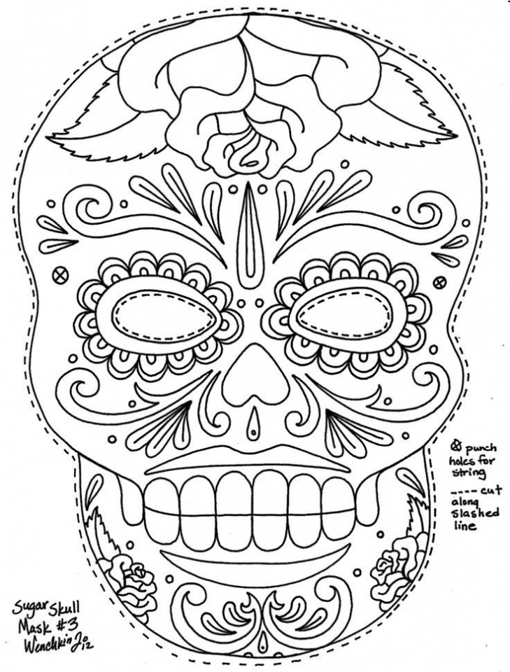 sugar skull coloring pages to print for grown ups 89433 - Sugar Skull Coloring Pages Print