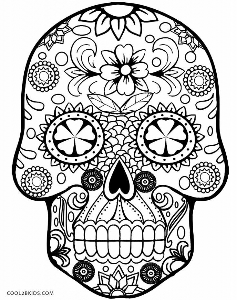 Get This Sugar Skull Coloring Pages to Print for Grown Ups 95669
