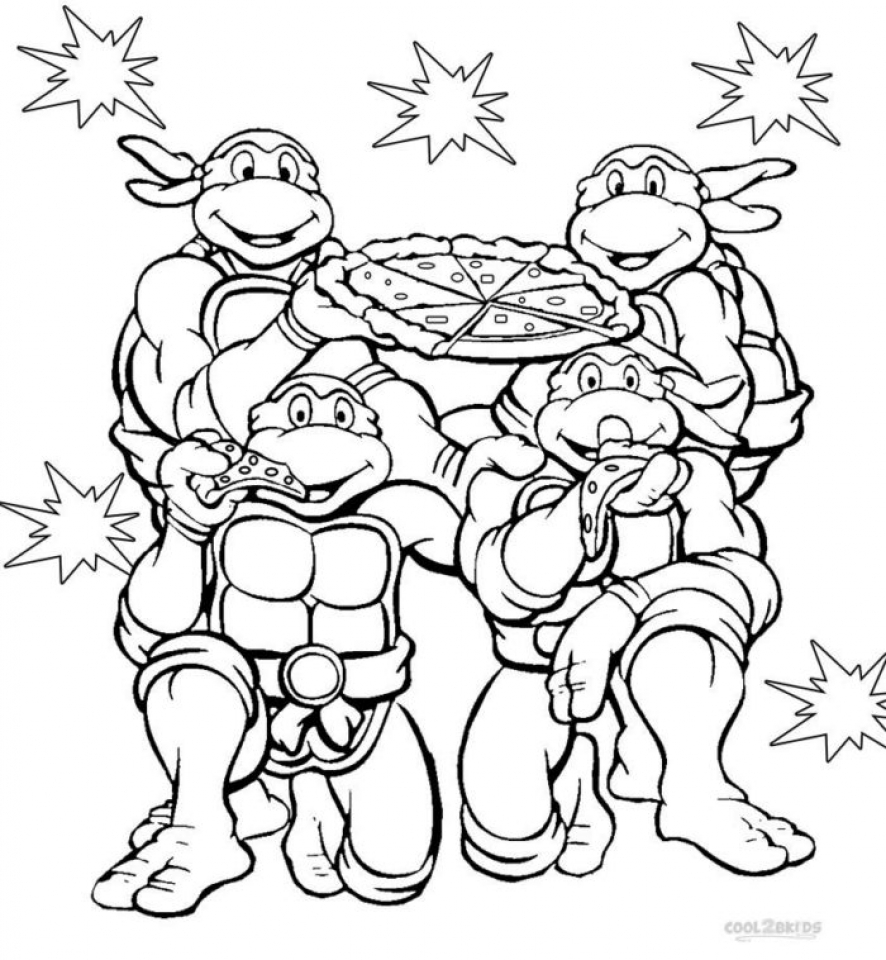 Clean image with ninja turtle printable colouring pages