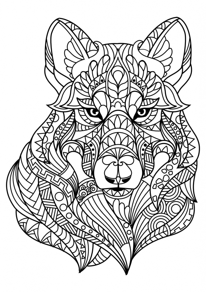 wolf coloring pages for adults - Sugar Skull Coloring Page