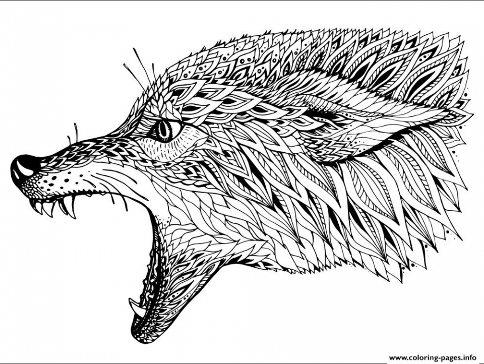 Wolf Coloring Pages For Adults Free Printable 21637