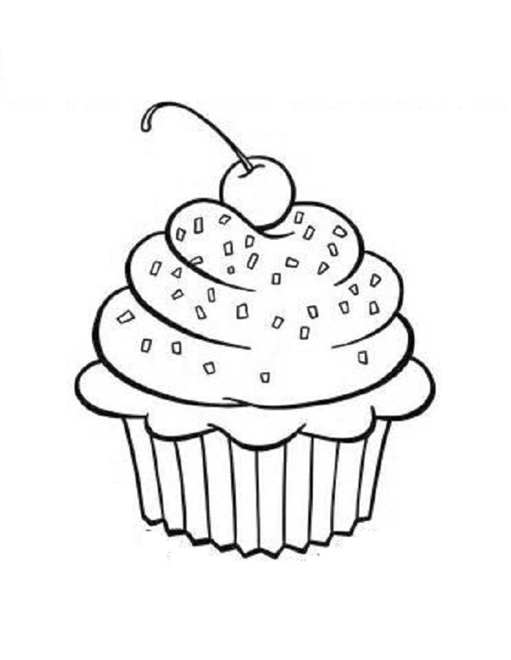 Cupcake Coloring Pages For Kids Tfv41