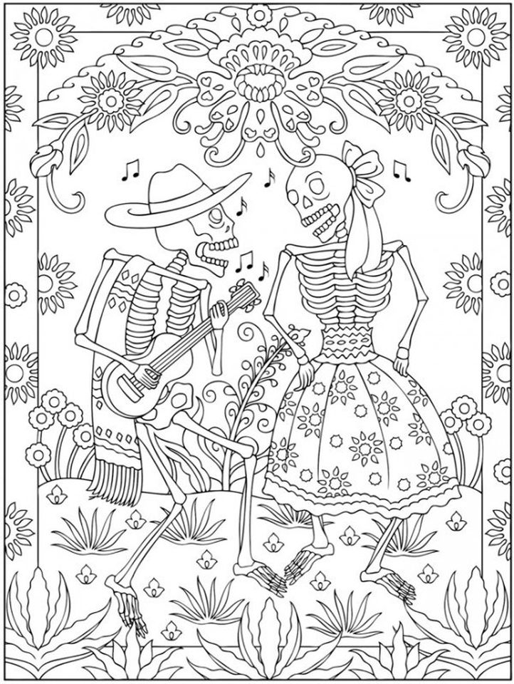 Get This Day Of The Dead Coloring Pages - Hard Coloring For Adults - Txc21 !