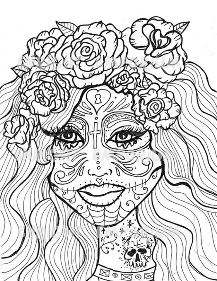 Get This Day of the Dead Coloring Pages - Hard Coloring for Adults ...