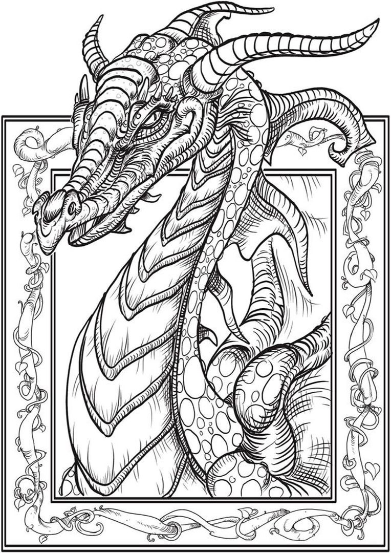 dragon coloring pages for adults - Printable Dragon Coloring Pages