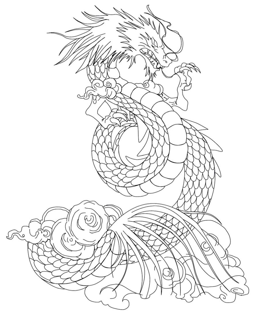 Get This Dragon Coloring Pages for Adults to Print mv74l