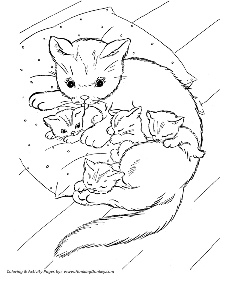 Coloring Pages For Kids Kitten Drawing With Crayons