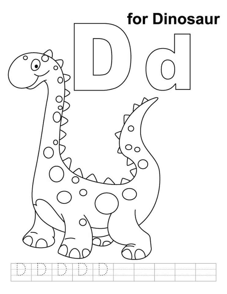 letter d coloring pages dinosaur 7cs2m - Letter D Coloring Pages