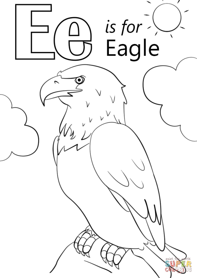 Get This Letter E Coloring Pages Eagle  jdh3m