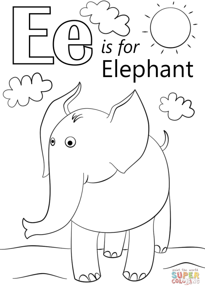 e coloring page get this letter e coloring pages elephant bfm02