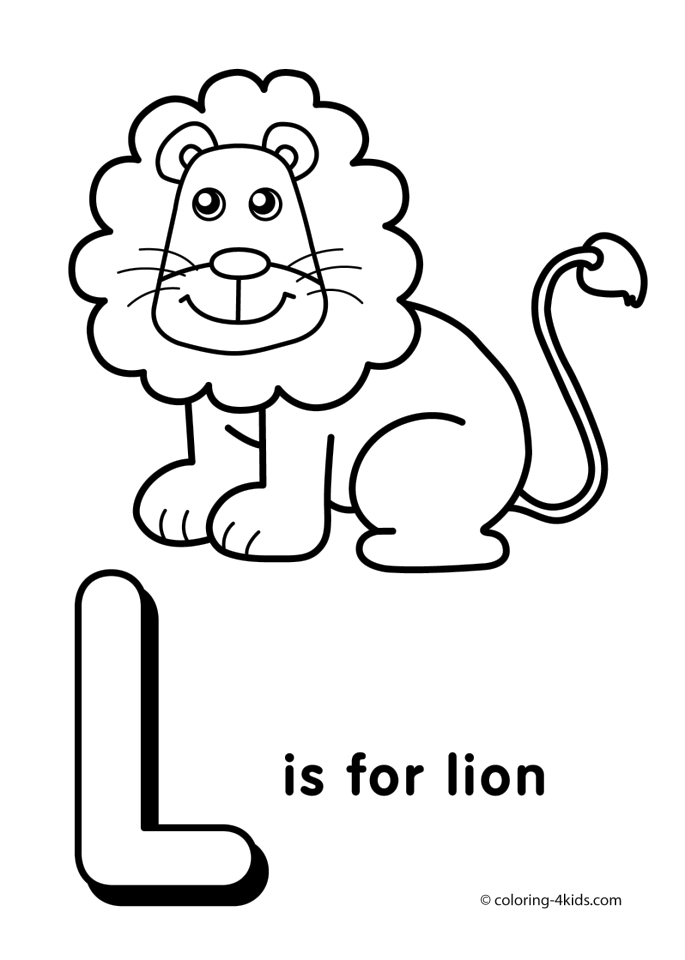 Letter l coloring pages lion u4l1