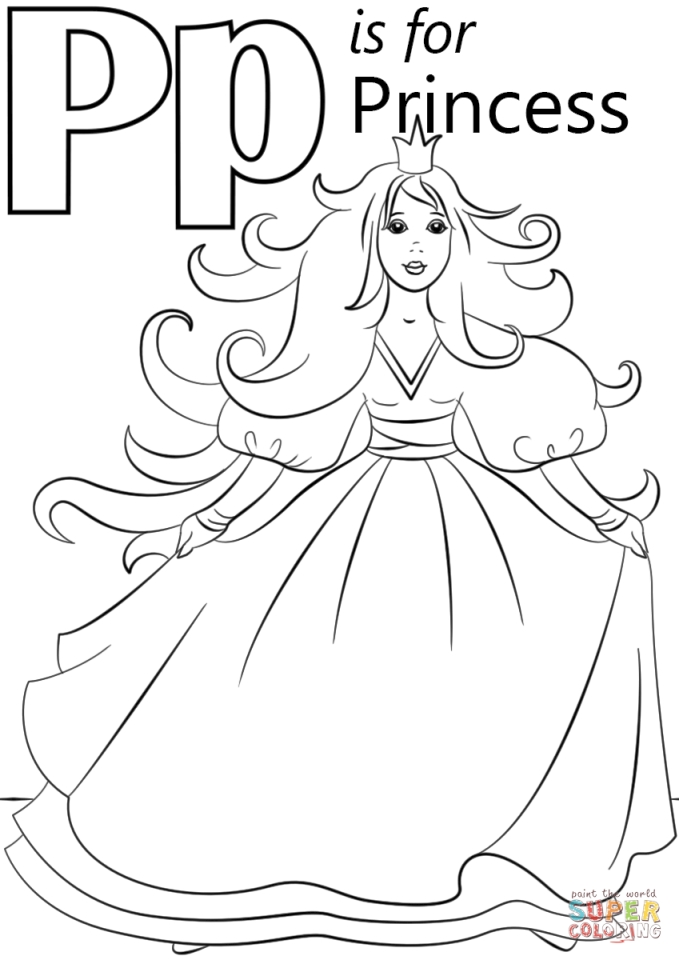 Get This Letter P Coloring Pages Princess - p31nd !
