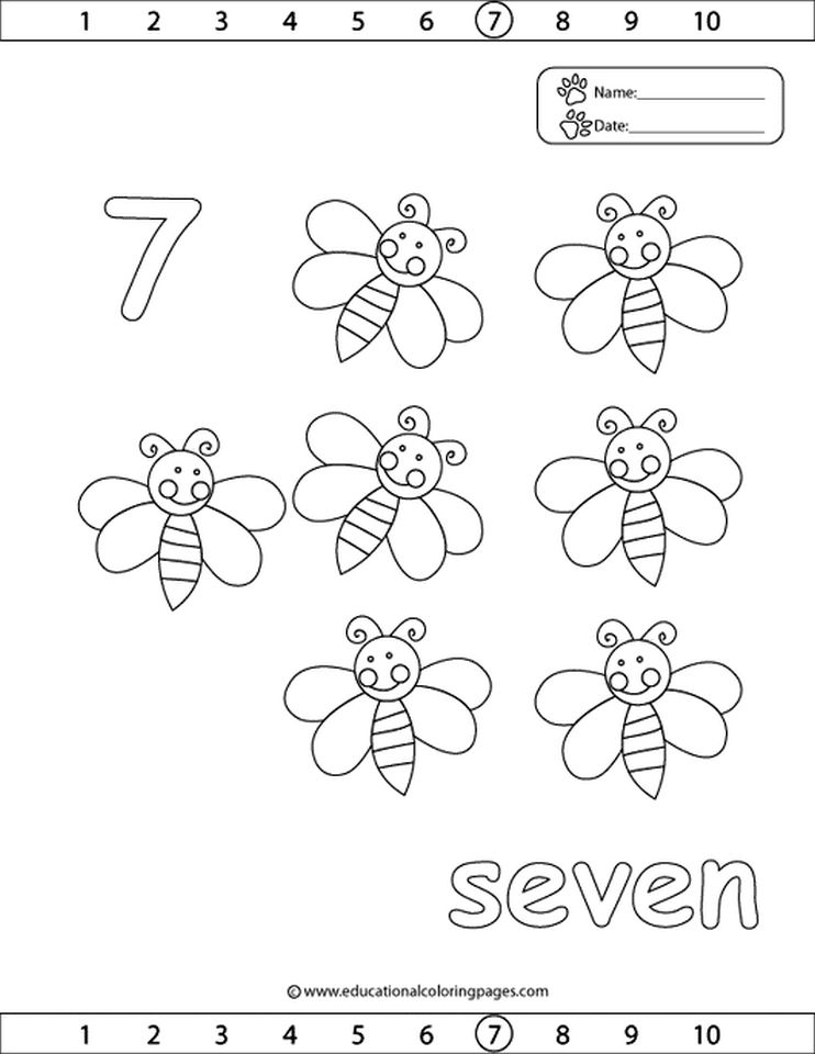 Number 7 Coloring Page Eliolera