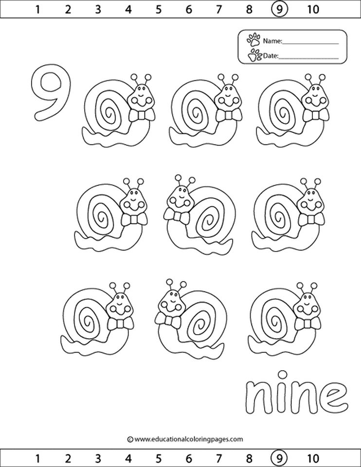 Get This Number 9 Coloring Page 959v9