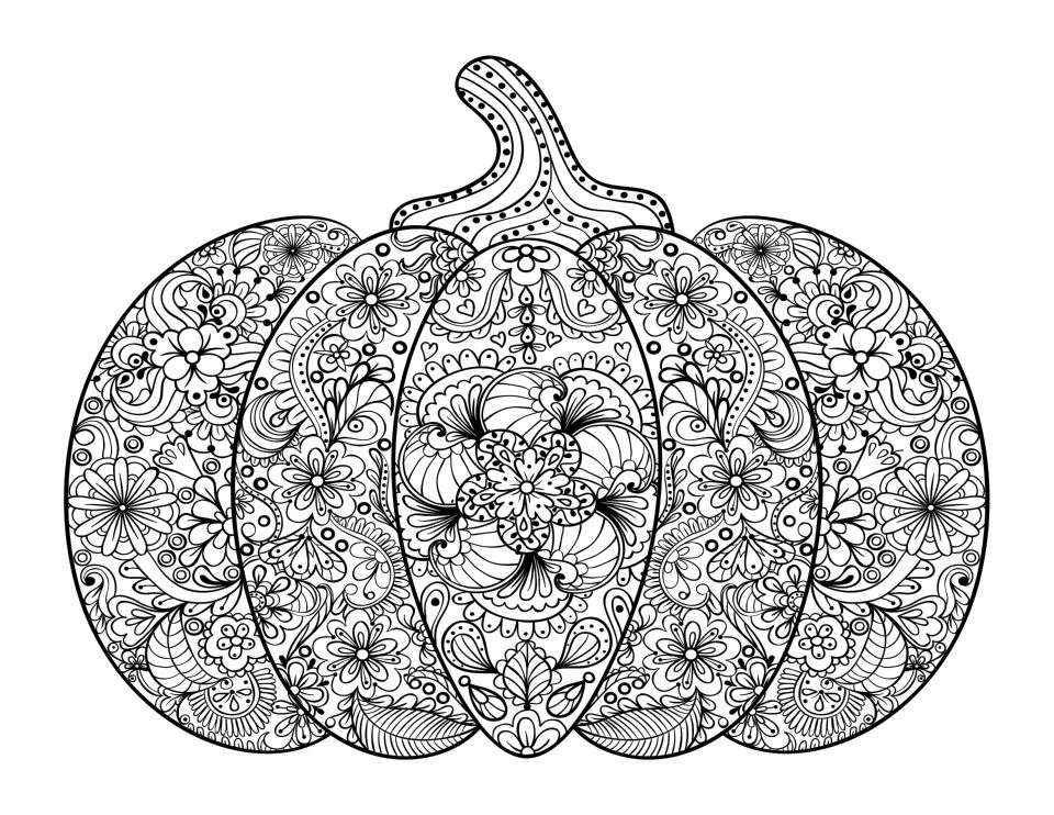 20+ Free Printable Pumpkin Coloring Pages for Adults ...