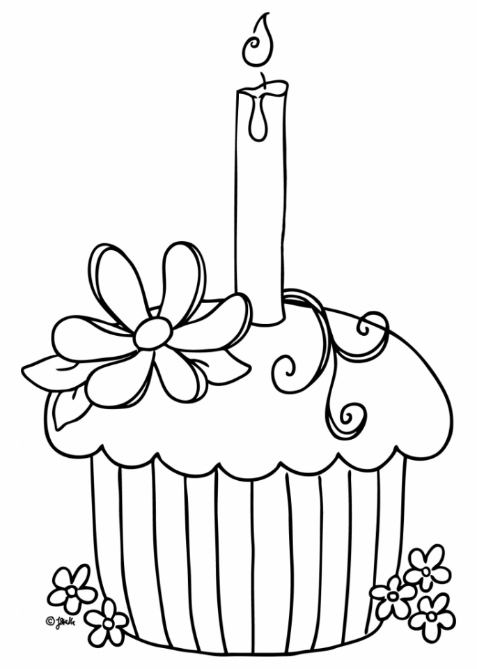 Birthday Cupcake Coloring Pages   03419