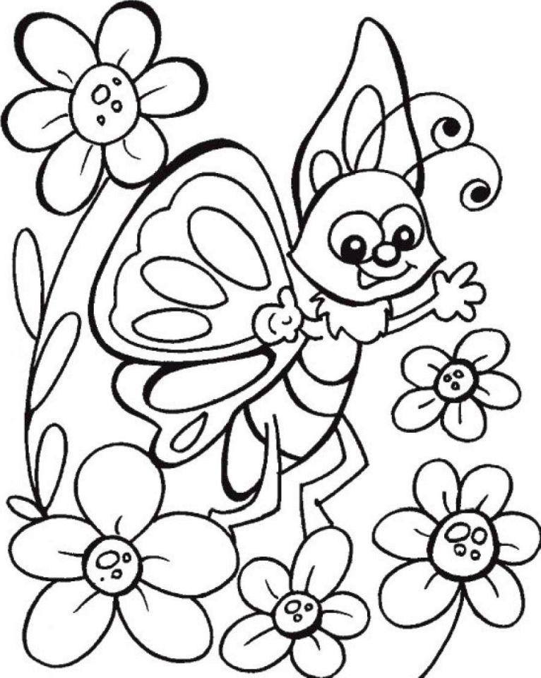 Flowers And Butterflies Coloring Pages Printable Images