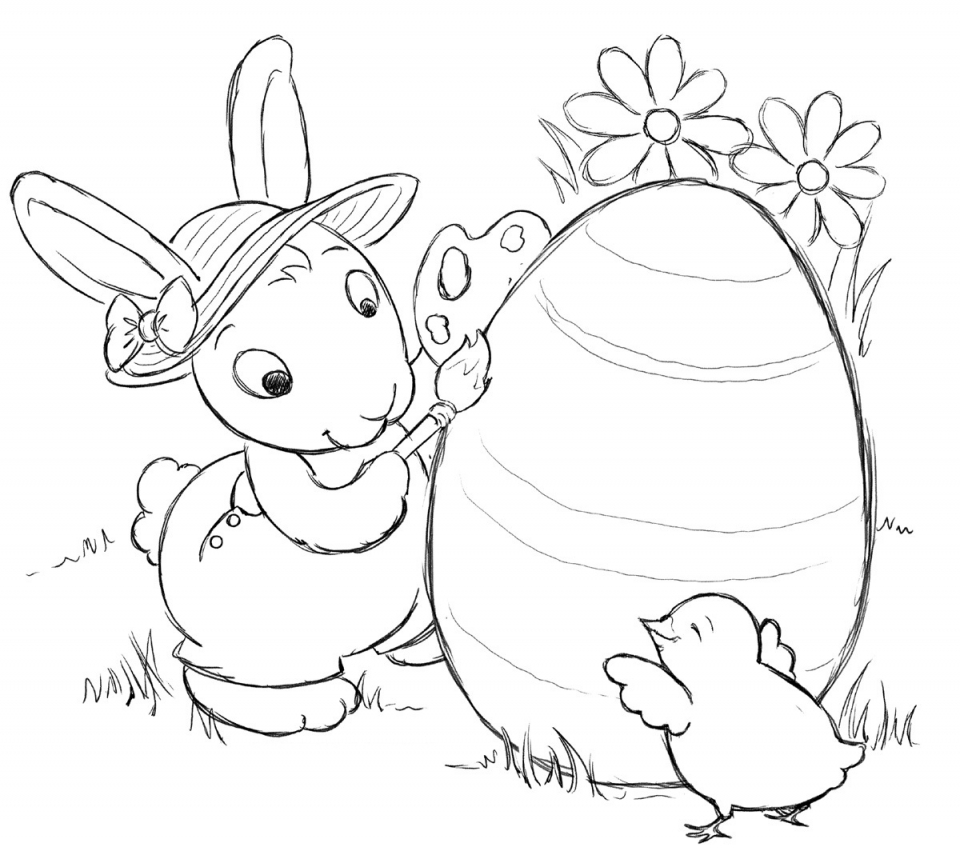 Get This Cartoon Easter Bunny Coloring Pages for Kids 06738