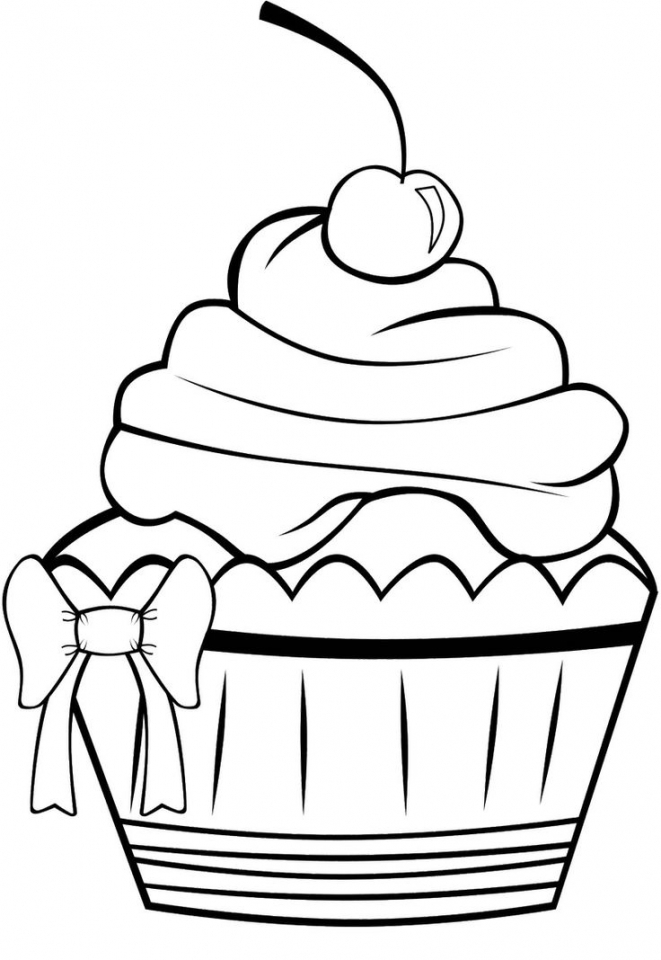 cupcake color page - get this cute cupcake coloring pages 17005