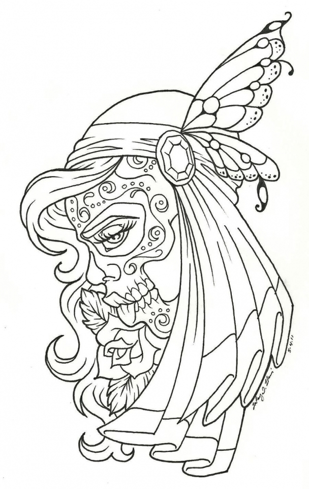 Get This Day Of The Dead Coloring Pages Adults Printable 7vba1